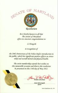 Maryland State Senate Issues Resolution in Recognition of Mr. Li Hongzhi and Falun Dafa