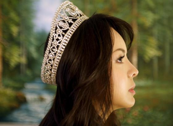 Miss World Canada Anastasia Lin poses with her crown after an interview at her home in Toronto