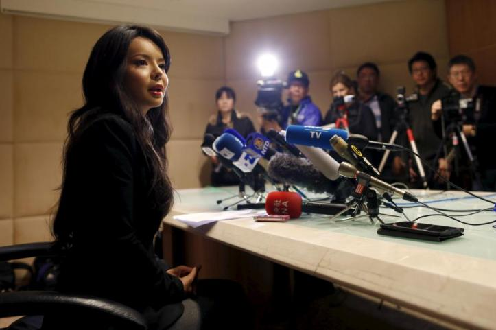 Miss World Canada Anastasia Lin speaks during a news conference in Hong Kong, China